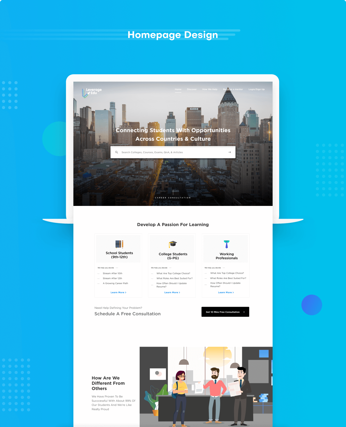 homepage-design-leverage-edu